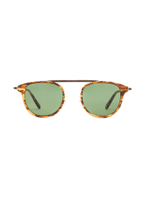 Garrett Leight Van Buren Combo 46 Folding in Pinewood Gold & Pure Green - Brown. Size all.