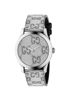Gucci 38MM G-Timeless Holographic Watch in White & Black - Metallic. Size all.