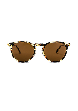 Garrett Leight Ocean 46 in Block Tortoise & Gold & Sienna - Brown. Size all.