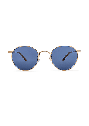 Garrett Leight Wilson M 49 in Gold & Toffee & Semi-Flat Navy - Blue,Metallic. Size all.