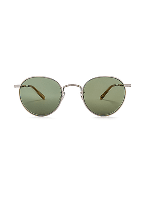 Garrett Leight Wilson M 49 in Silver & Blonde & Semi-Flat Green - Green,Metallic. Size all.
