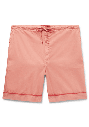 Cleverly Laundry - Piped Garment-dyed Washed-cotton Pyjama Shorts - Pink