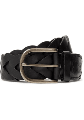 AMI - 4cm Black Woven Leather Belt - Black