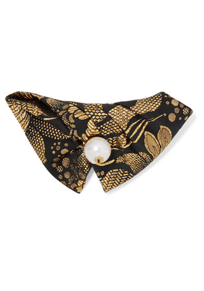 Dolce & Gabbana - Faux Pearl-embellished Brocade Hair Clip - Gold