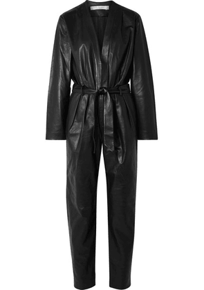 IRO - Madryn Belted Leather Jumpsuit - Black