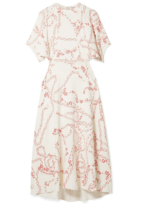 Victoria Beckham - Paneled Printed Crepe Midi Dress - Cream