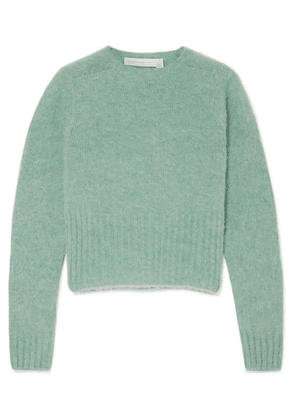 Victoria Beckham - Cropped Mélange Wool Sweater - Mint