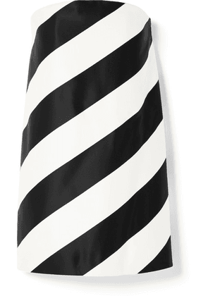 SAINT LAURENT - Strapless Striped Silk And Wool-blend Mini Dress - Black