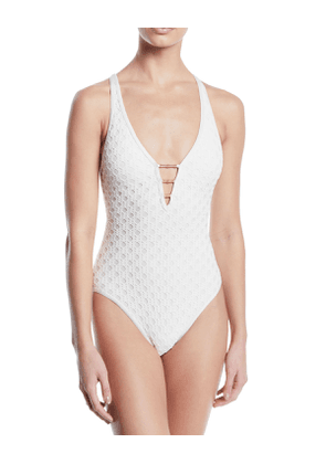 Plunging Crochet Cross-Back One-Piece Swimsuit