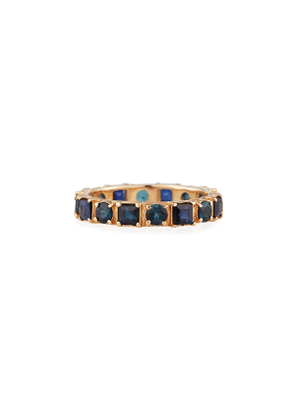 18k Rose Gold Blue Sapphire & Tourmaline Ring, Size 6.5