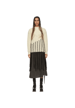 Loewe Off-White and Black Alpaca and Wool Long Woven Fringe Sweater