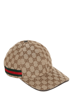 Gg Supreme Logo Canvas Baseball Hat