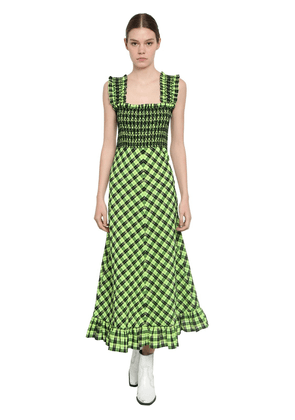 Checked Seersucker Midi Dress