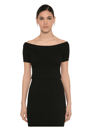 Off The Shoulder Wool Knit Waved Top
