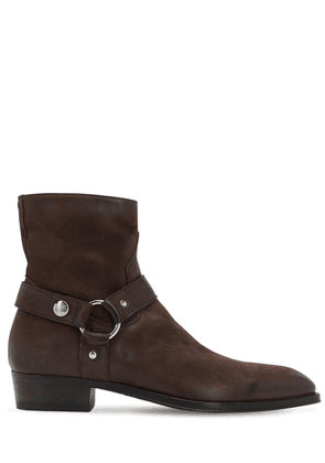 35mm Zip-up Buffalo Leather Boots