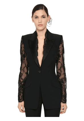 Leaf Crepe & Lace Blazer Jacket