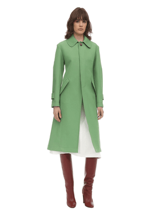 Embroidered Wool & Cotton A-line Coat