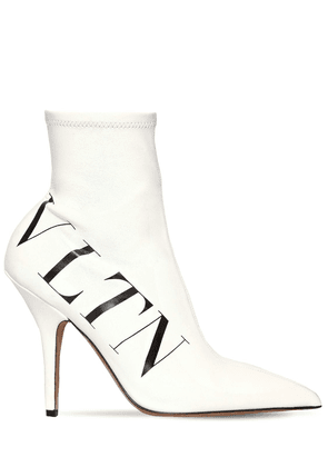 100mm Vltn Stretch Faux Leather Boots