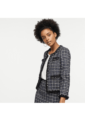 Lady jacket in metallic houndstooth