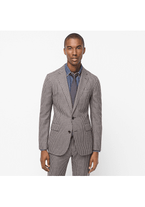 Ludlow Slim-fit unstructured suit jacket in houndstooth English cotton-wool