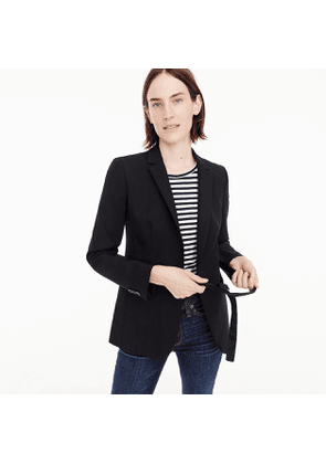 Tie-front blazer in four-season stretch
