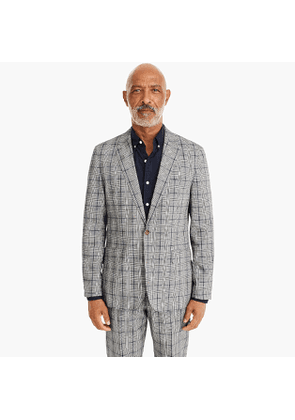 Ludlow Slim-fit unstructured suit jacket in glen plaid cotton-linen