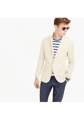Ludlow Slim-fit unstructured cotton-linen blazer in khaki sand