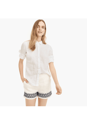 Embroidered-trim short in beauchamps linen