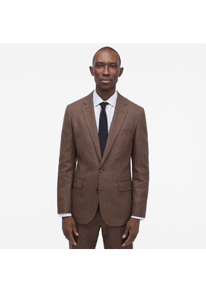 Ludlow Slim-fit unstructured suit jacket in English glen plaid wool-cotton