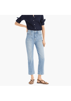 Point Sur kickout crop jean in light river wash with front patch pockets