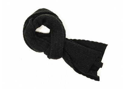 Solid Braid Wool/Cashmere Knitted Scarf in Charcoal