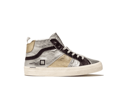 D.A.T.E. High Top Sneakers - Silver