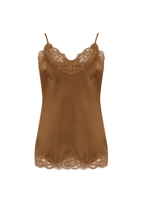Gold Hawk Floral Lace Cami in Tobacco