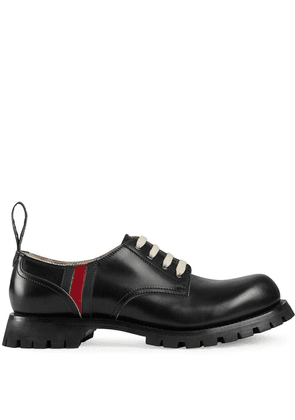 Gucci Leather lace-up with Web - Black