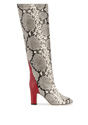 Gia Couture python print knee high boots - White