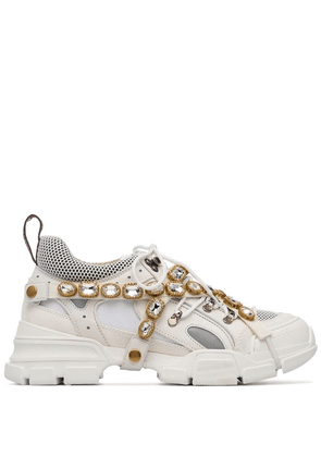 Gucci white Journey crystal embellished leather sneakers