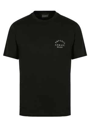 Armani Crew Neck Embroidered Reverse T-Shirt Colour: Black