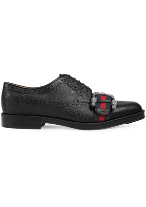 Gucci Leather brogue shoe with Web - Black