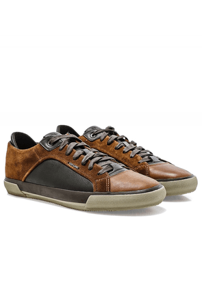 Geox Waxed Leather & Suede Kaven Trainers Colour: Brown
