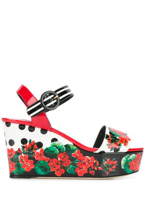 Dolce & Gabbana floral print wedge sandals - White