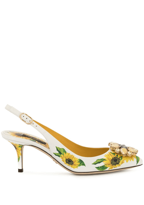 Dolce & Gabbana Sunflower print slingback pumps - White
