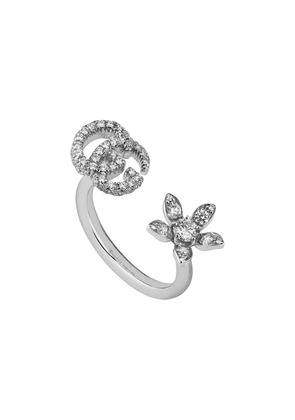 Gucci Ring with flower and Double G and diamonds - 9066