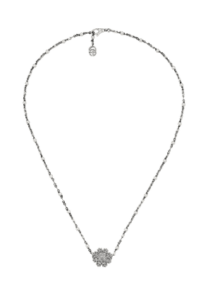 Gucci Necklace with flower, diamonds and pearls - Silver