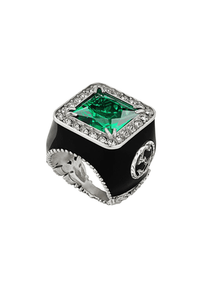 Gucci ring with stone and crystals - Green