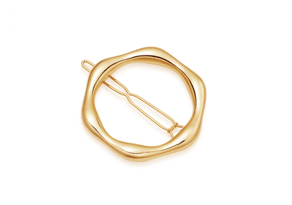 Gold Large Molten Hair Clip - Gold Plated Brass