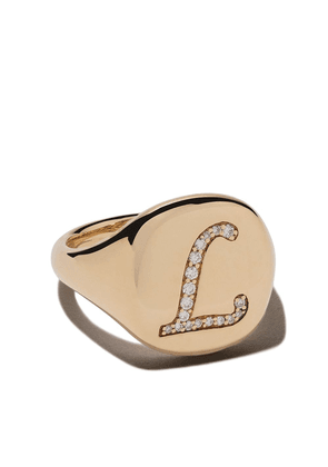 David Yurman 18kt yellow gold Cable Collectibles diamond L initial