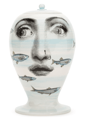 Fornasetti face fish printed jar - White