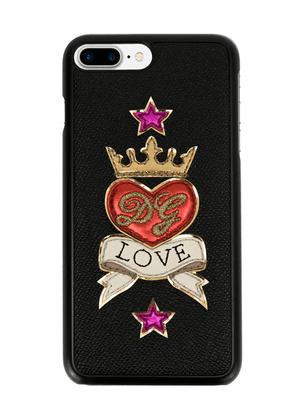 Dolce & Gabbana embroidered patches cellphone case - Black