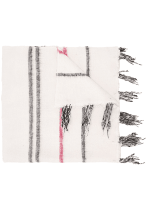 Denis Colomb striped large scarf - White