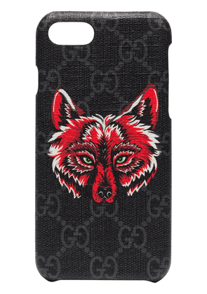Gucci iPhone 8 Wolf Motif Phone Case - Black